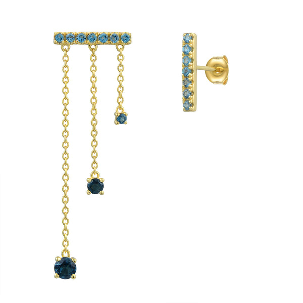 Sterling Silver Mismatching Earring with Natural London Blue Topaz Plated with 18K Yellow Gold
