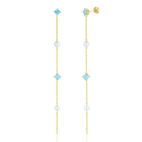 Sterling Silver Earrings plated with 18K Yellow Gold with Swiss Blue Topaz and Fresh Water Pearl
