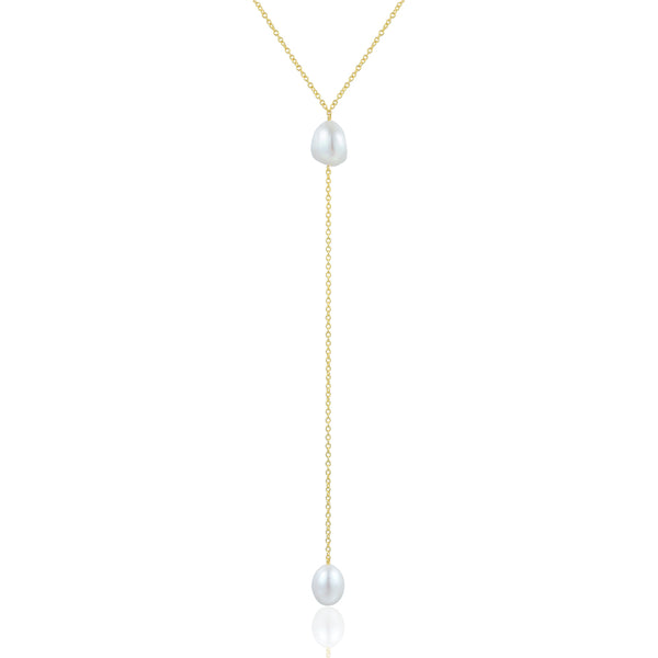 Sterling Silver Necklace with Natural Baroque Pearl Plated with 18K Yellow Gold