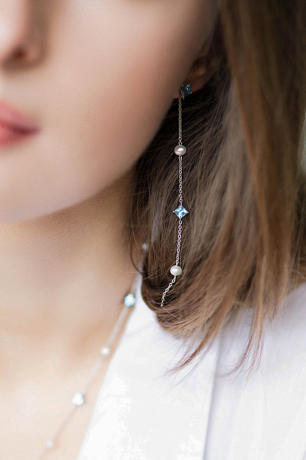 Sterling Silver Earrings with Swiss Blue Topaz and Fresh Water Pearl