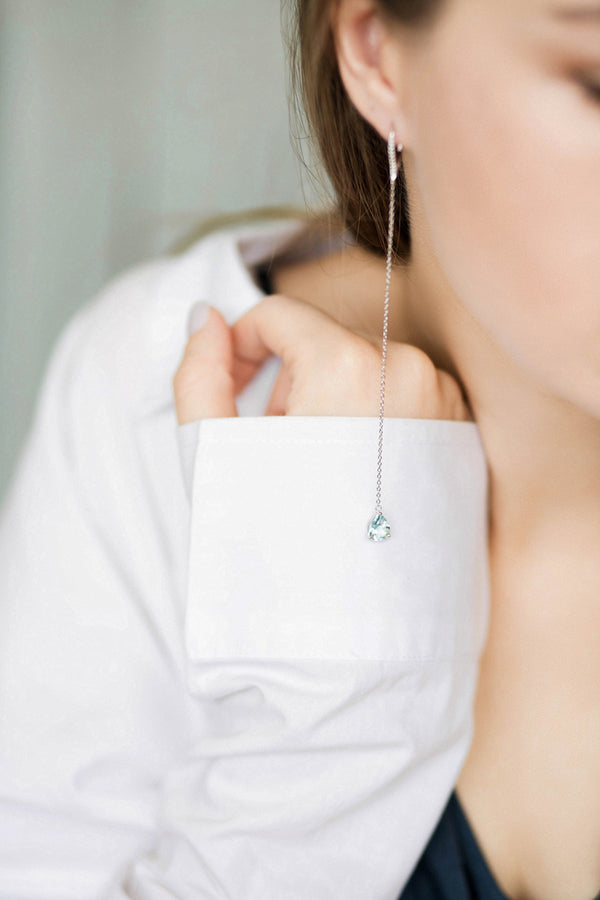Dangling Earrings with Natural Sky Blue Topaz