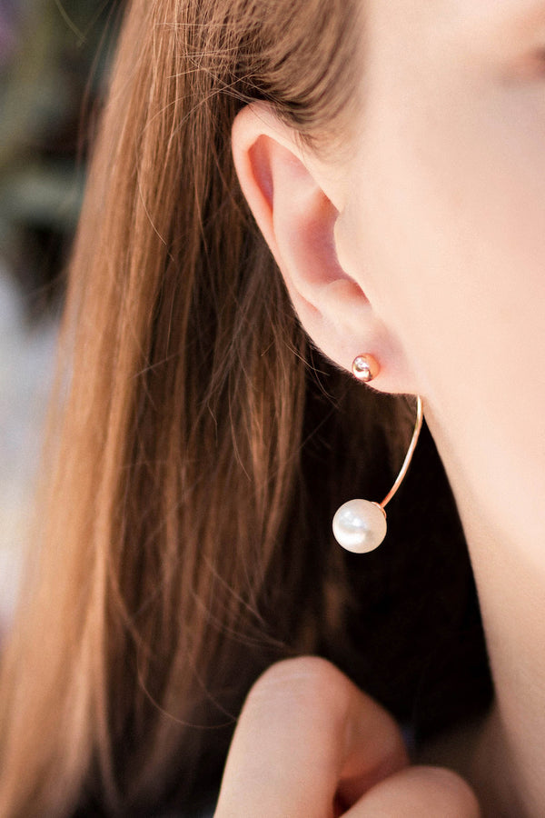 Sterling Silver Ear Pin with Fresh Water Pearl and Plated with 18K Rose Gold