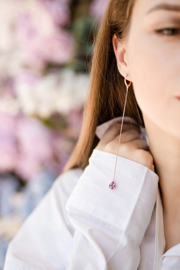 Dangling Earrings with Pink Amethyst and Covered with 18K Rose Gold