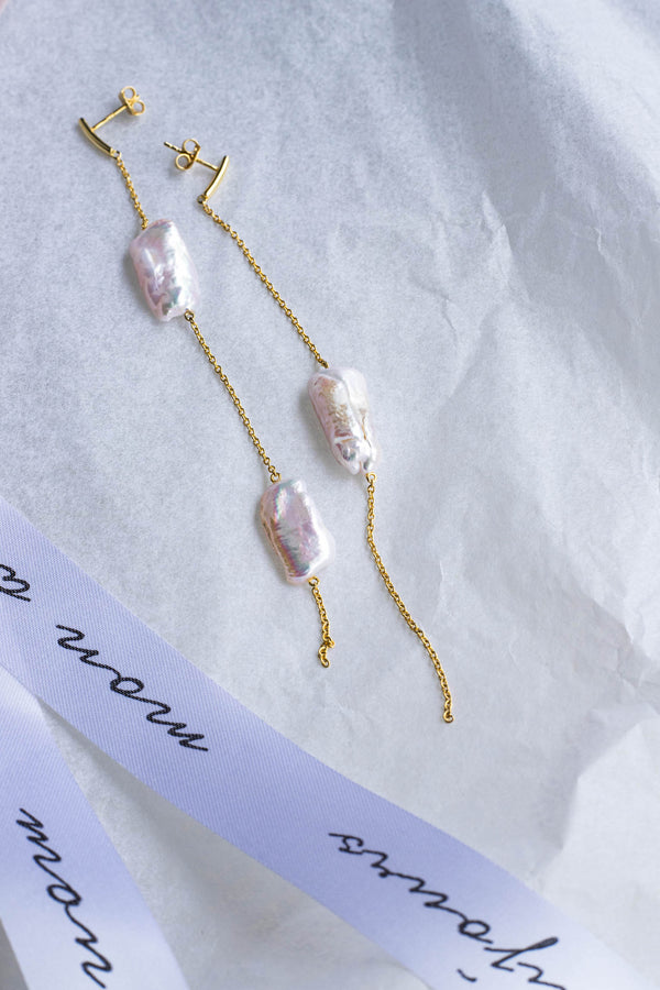 Sterling Silver Earrings with Natural Baroque Pearl Plated with 18K Yellow Gold