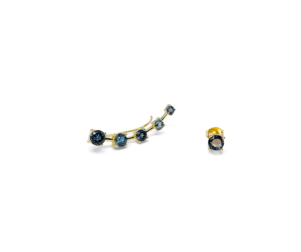 Sterling Silver Mismatching Ear Climber with London Blue Topaz in Yellow