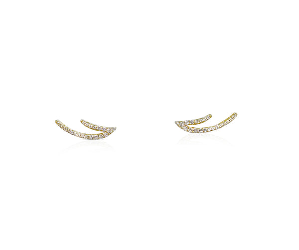 Sterling Silver Ear climbers With White Topaz in Yellow