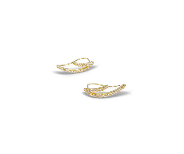 Ear climbers With White Topaz and Covered in 18K yellow Gold