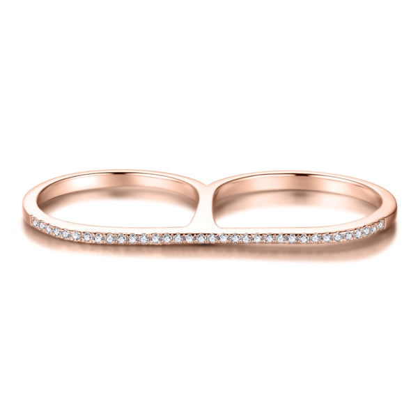 Double Finger Ring with Cubic Zirconia and Covered with 18K Rose Gold