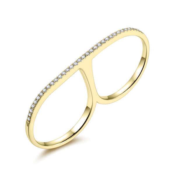Sterling Silver Double Finger Ring with Cubic Zirconia covered with 18-karat Yellow Gold