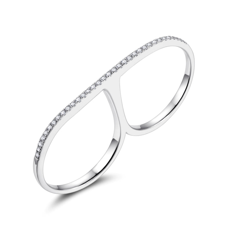 Sterling Silver Double Finger Ring with Cubic Zirconia