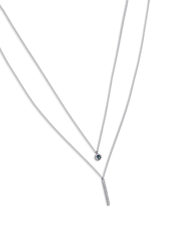 Sterling Silver Layered Necklace with Natural White and London Blue Topaz