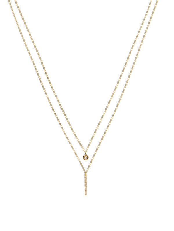 Sterling Silver Layered Necklace with Natural White Topaz Covered with 18K Yellow Gold