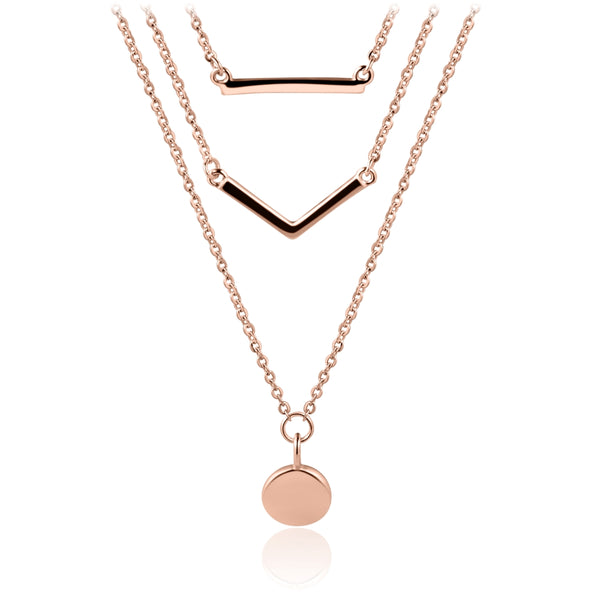 Sterling Silver Layered Necklace Covered with 18-karat Rose Gold