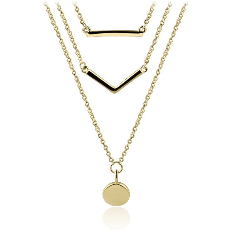 Sterling Silver Layered Necklace Covered with 18-karat Yellow Gold