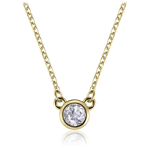 Sterling Silver Necklace with Natural White Topaz Covered with 18-karat Yellow Gold