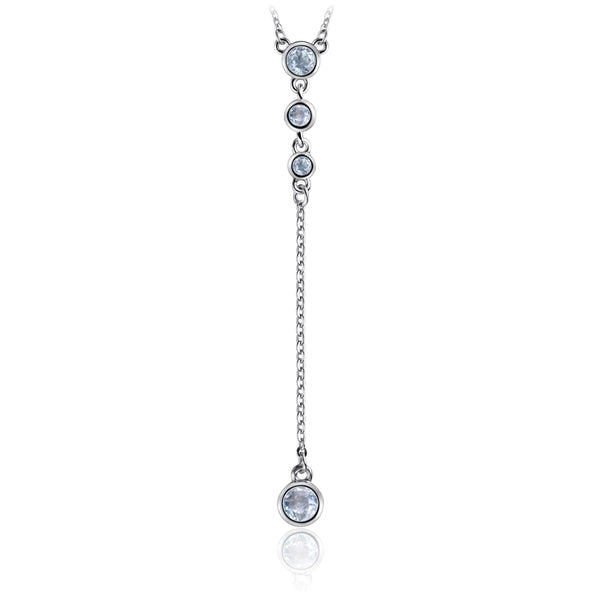 Sterling Silver Necklace with Natural Sky Blue Topaz