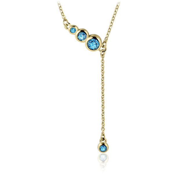 Sterling Silver Necklace with Natural London Blue Topaz Covered with 18-karat Yellow Gold
