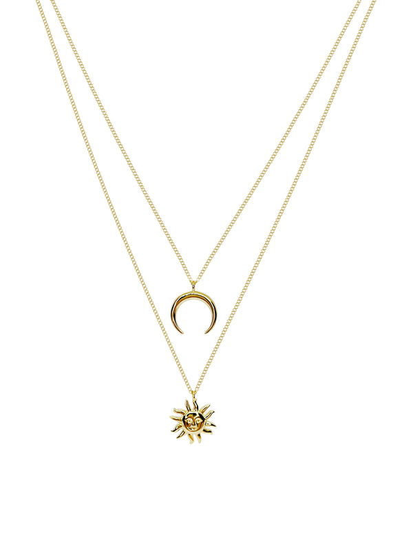 Sterling Silver Layered Sun and Moon Necklace Covered with 18K Yellow Gold