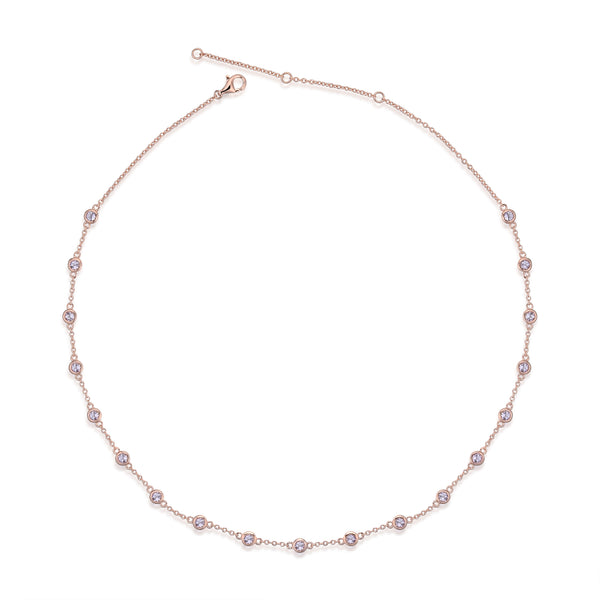 Sterling Silver Choker Necklace with Natural Amethyst Plated with 18K Rose Gold
