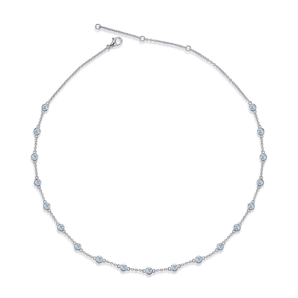 Sterling Silver Choker Necklace with Sky Blue Topaz