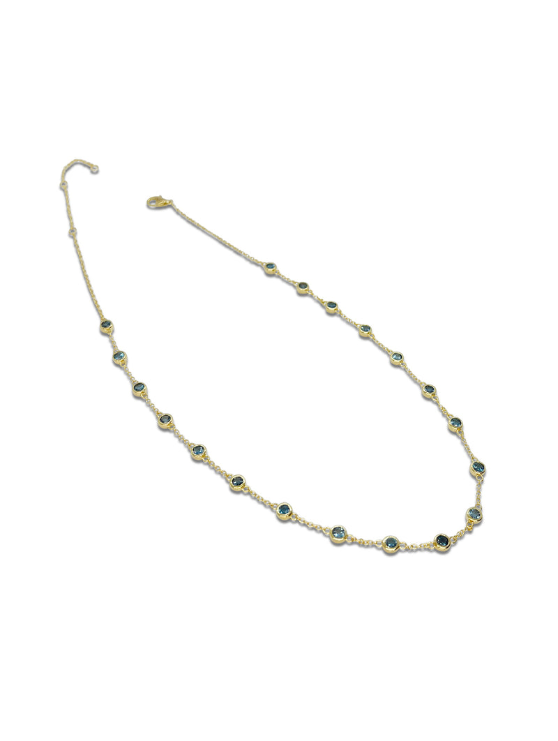 Sterling Silver Choker Necklace in Yellow with Blue Topaz
