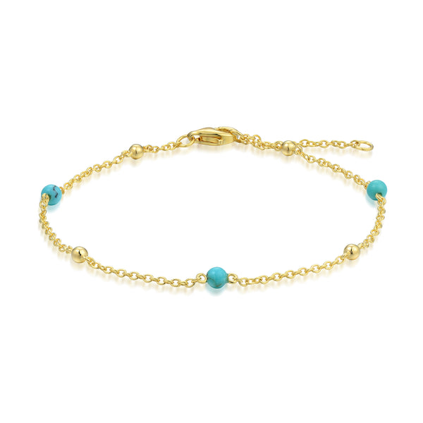 Sterling Silver Bracelet with Natural Turquoise Plated with 18K Yellow Gold