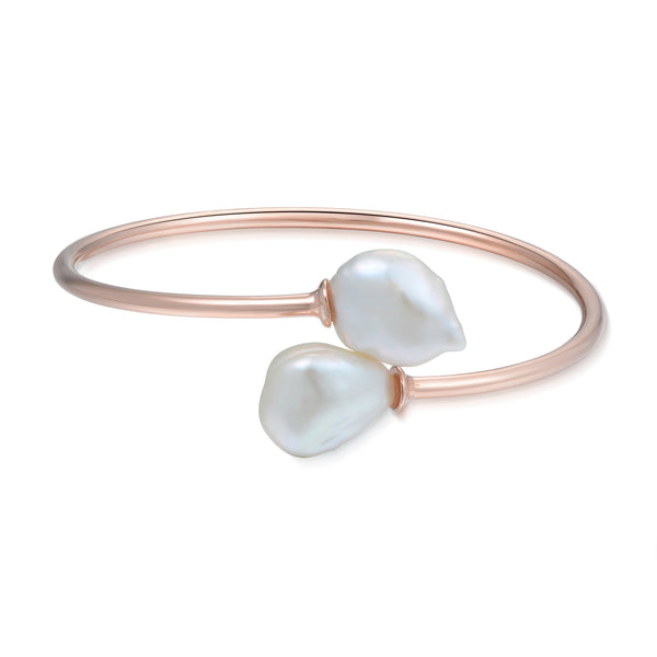 Sterling Silver Bangle with Natural Baroque Pearl Plated with 18K Rose Gold