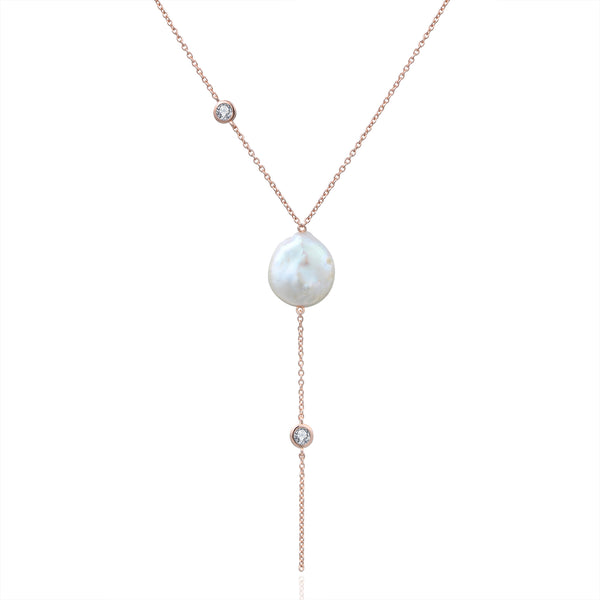 Sterling Silver Necklace with Natural Baroque Pearl Plated with 18K Rose Gold
