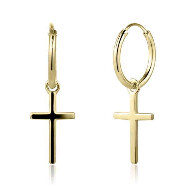 Cross Earrings Covered with 18K Yellow Gold