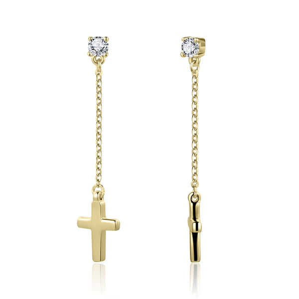 Cross Earrings with Cubic Zirconia and Covered with 18K Yellow Gold