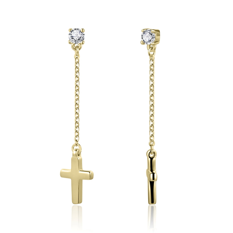 Sterling Silver Cross Earrings with Cubic Zirconia Covered with 18-karat Yellow Gold