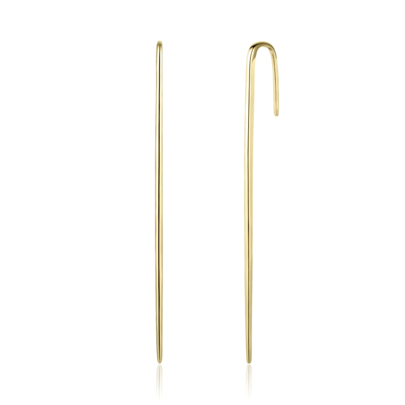 Sterling Silver Ear Pin Covered with 18-karat Yellow Gold