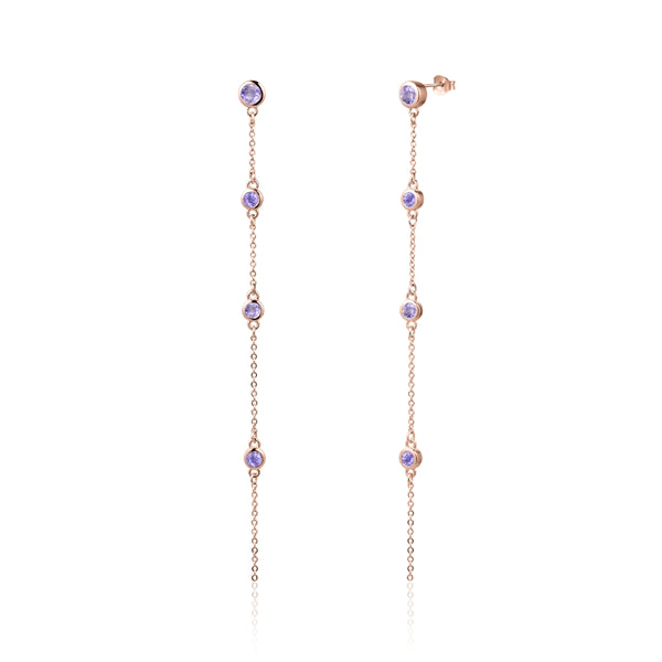 Sterling Silver Earrings with Natural Pink Amethyst Covered with 18-karat Rose Gold