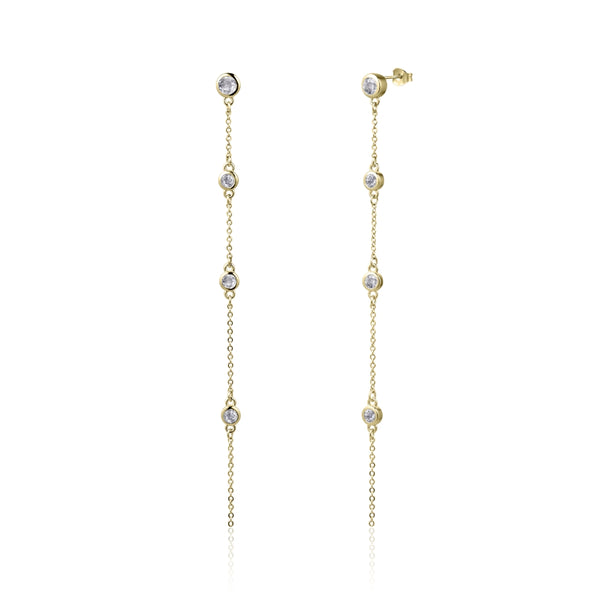 Sterling Silver Earrings with Natural White Topaz Covered with 18-karat Yellow Gold
