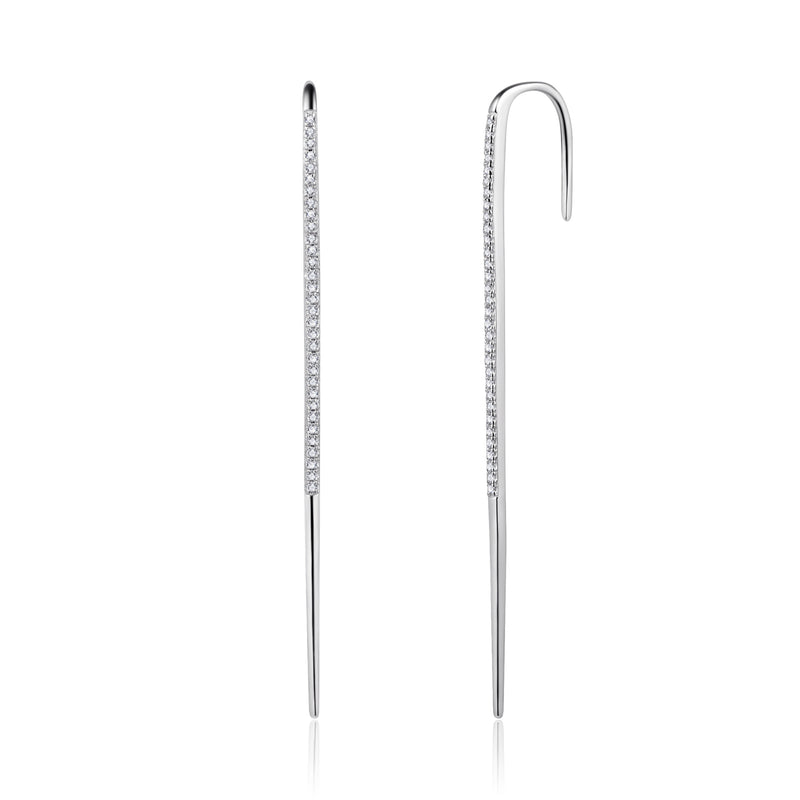 Sterling Silver Ear Pin with Cubic Zirconia