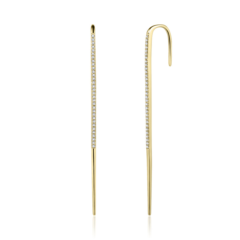 Sterling Silver Ear Pin with Cubic Zirconia Covered with 18-karat Yellow Gold