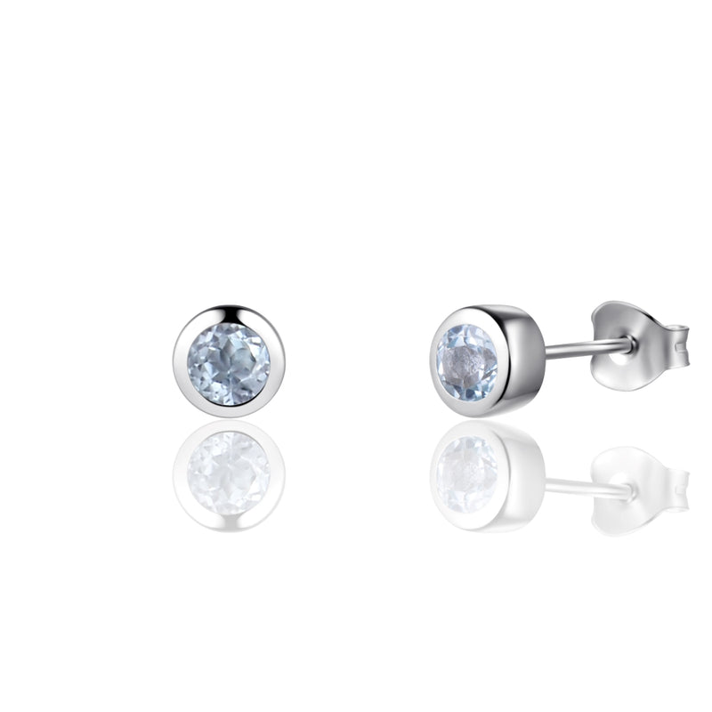 Sterling Silver Earrings with Natural Sky Blue Topaz