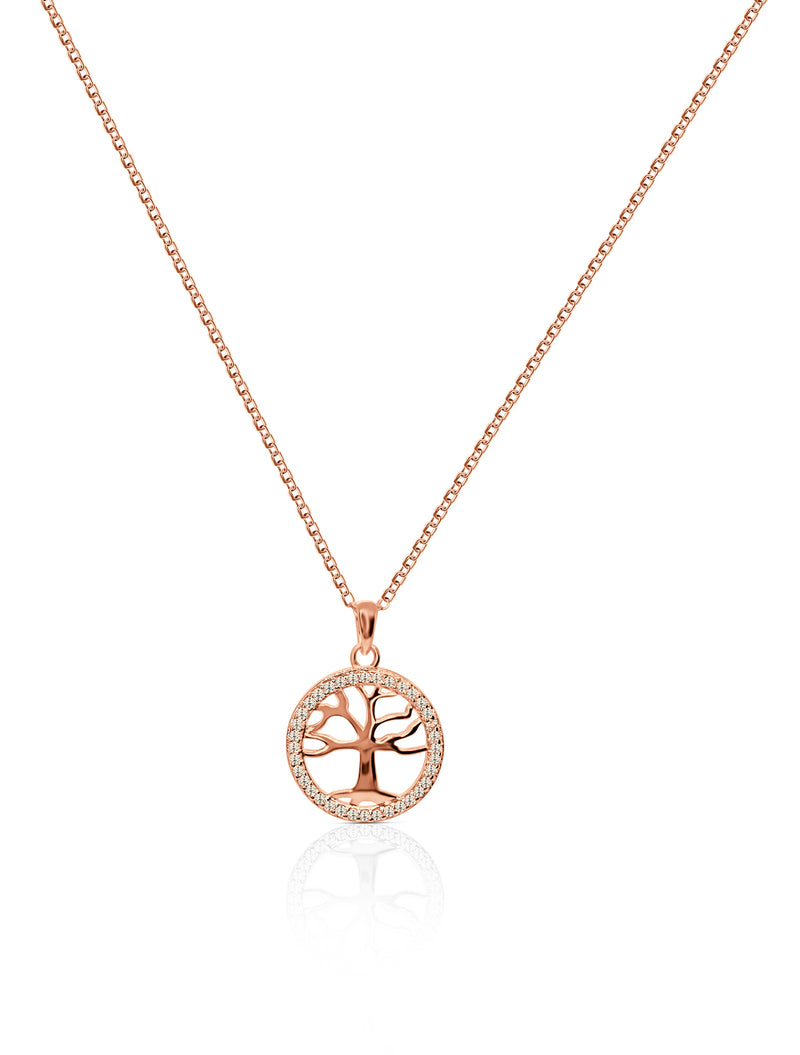 Sterling Silver Tree of Life Necklace with White Topaz in Rose