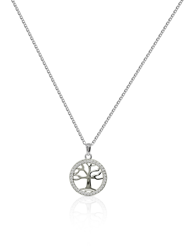 Sterling Silver Tree of Life Necklace With Natural White Topaz