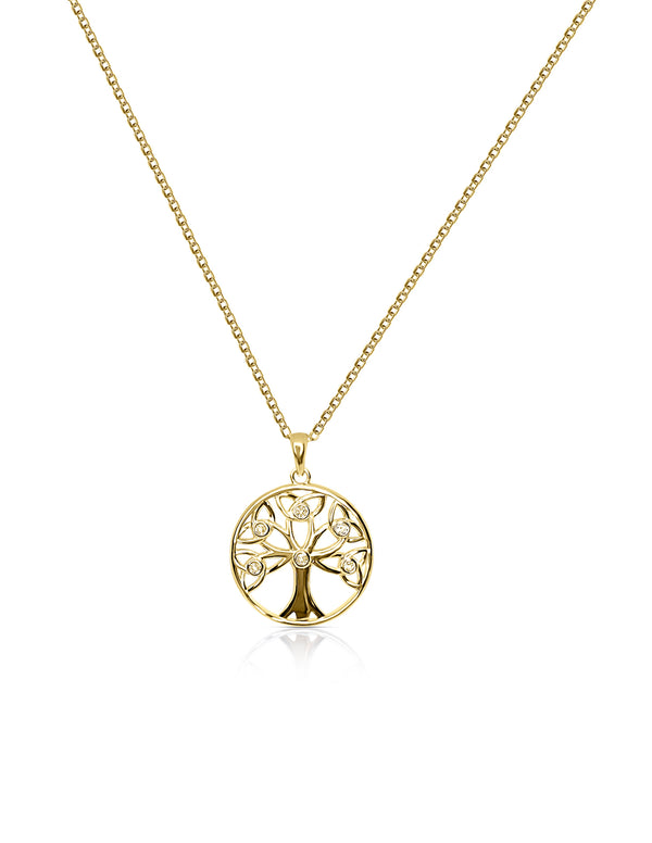 Sterling Silver Tree of Life Necklace With White Topaz in Yellow