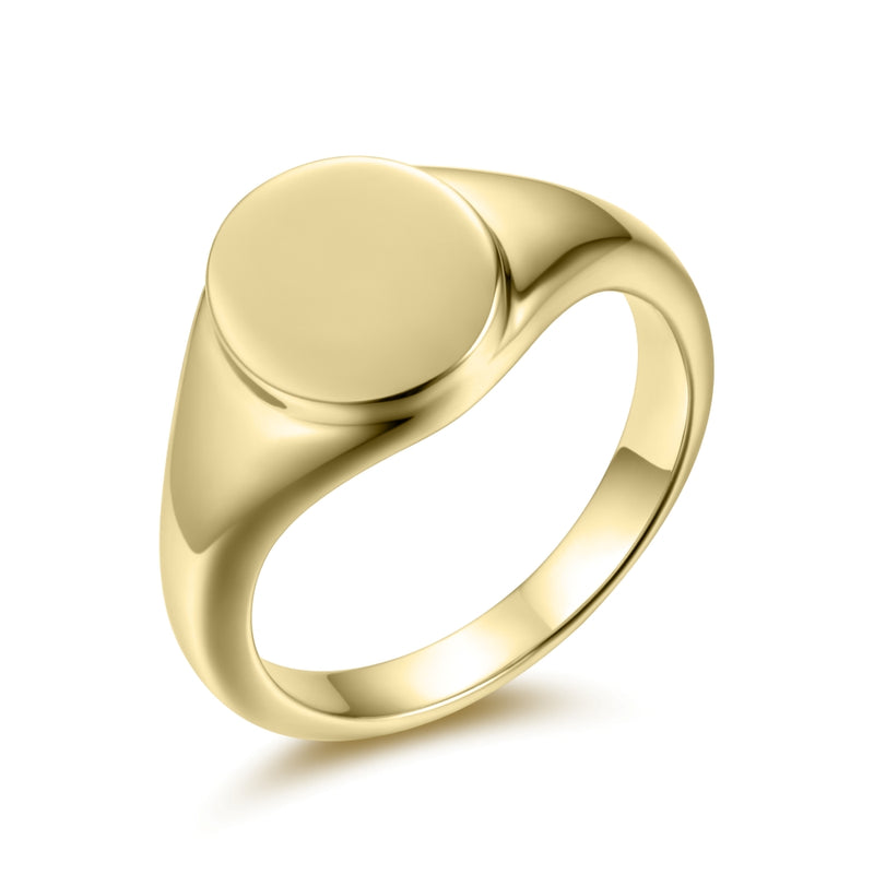 Sterling Silver Signet Ring Covered with 18-karat Yellow Gold