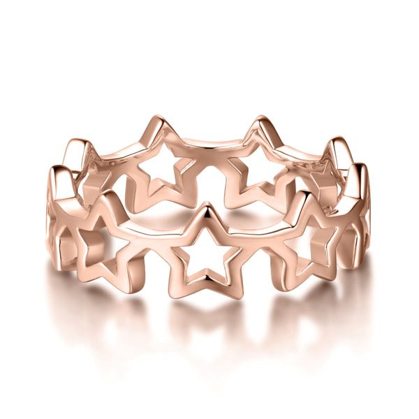Sterling Silver Star Ring Covered with 18-karat Rose Gold