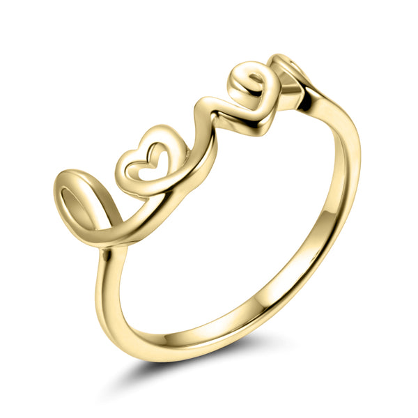 Sterling Silver Love Ring Covered with 18K Yellow Gold
