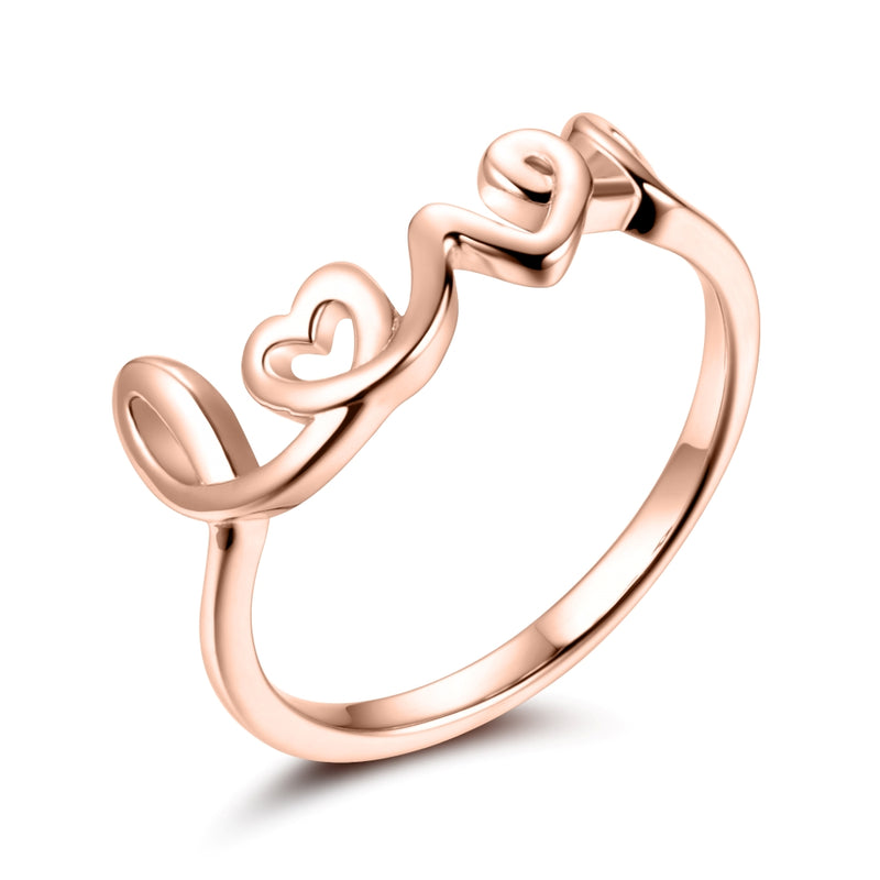 Sterling Silver Love Ring Covered with 18-karat Rose Gold