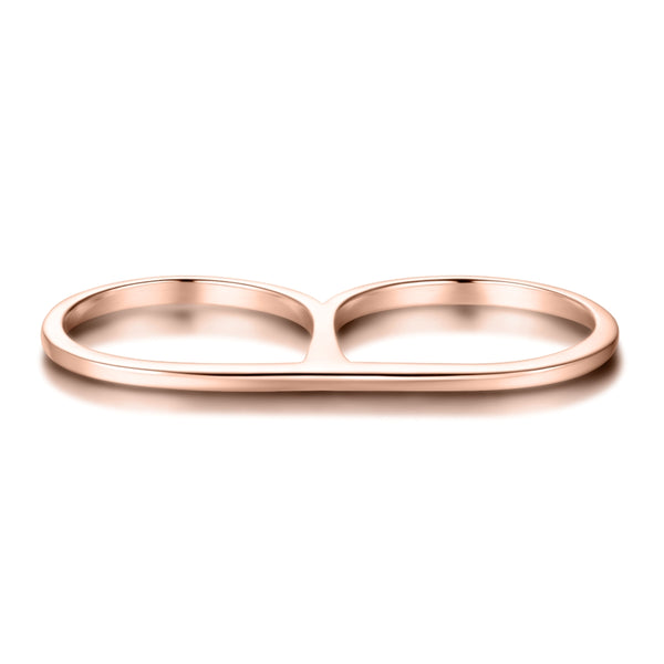 Sterling Silver Double Finger Ring Covered with 18-karat Rose Gold