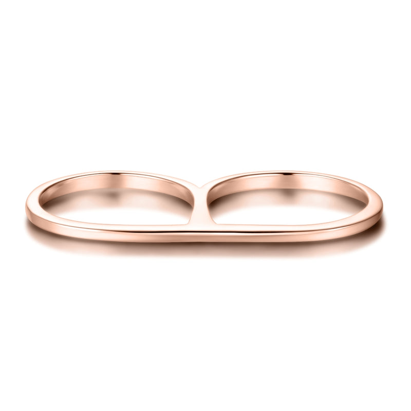 Double Finger Ring Covered with 18K Rose Gold