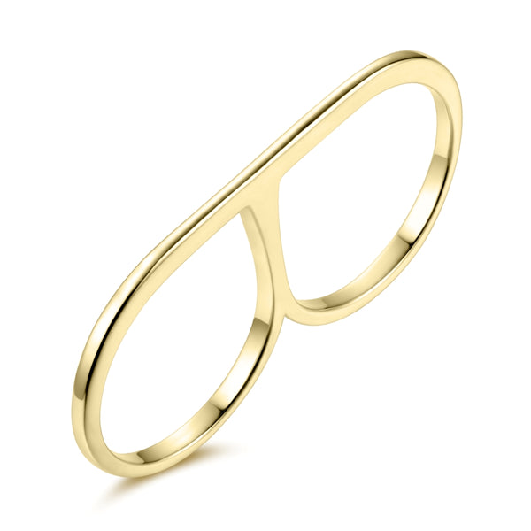 Sterling Silver Double Finger Ring Covered with 18-karat Yellow Gold