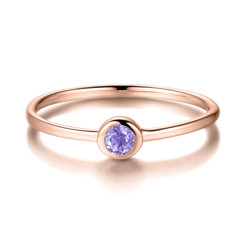 Sterling Silver Ring with Natural Pink Amethyst Covered with 18-karat Rose Gold