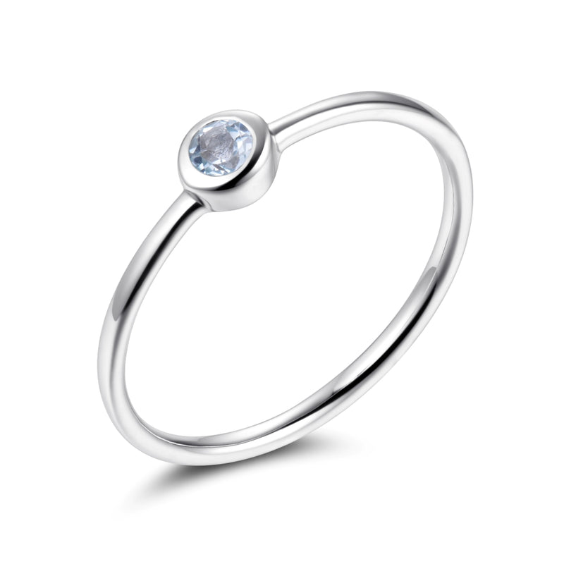 Sterling Silver Ring with Natural Sky Blue Topaz