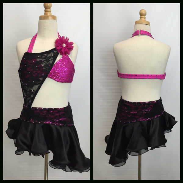 Black Lace and Pink Jazz Costume